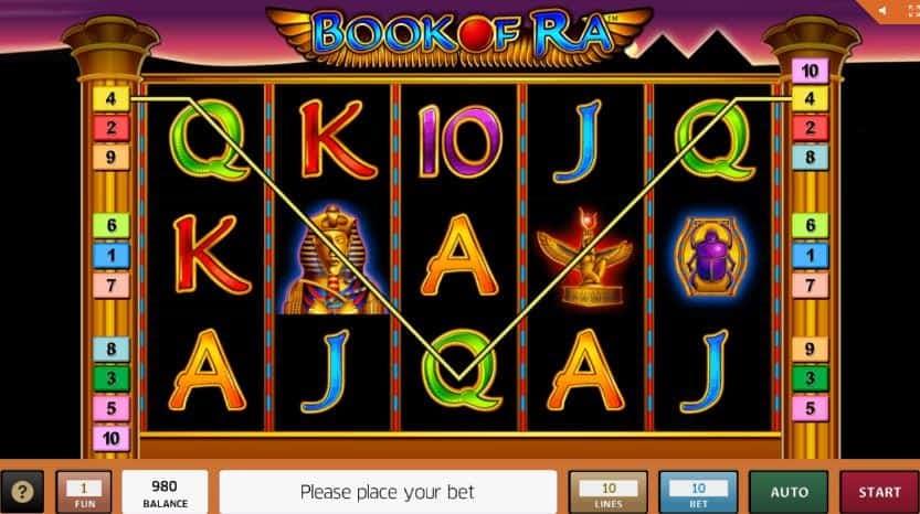 Símbolos, gráficos, sons e animações de Book of Ra