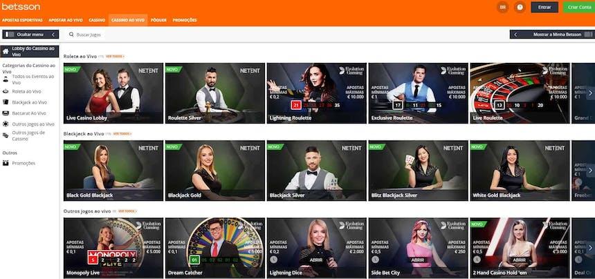 Aproveite os jogos de casino ao vivo com crupiês reais da Betsson