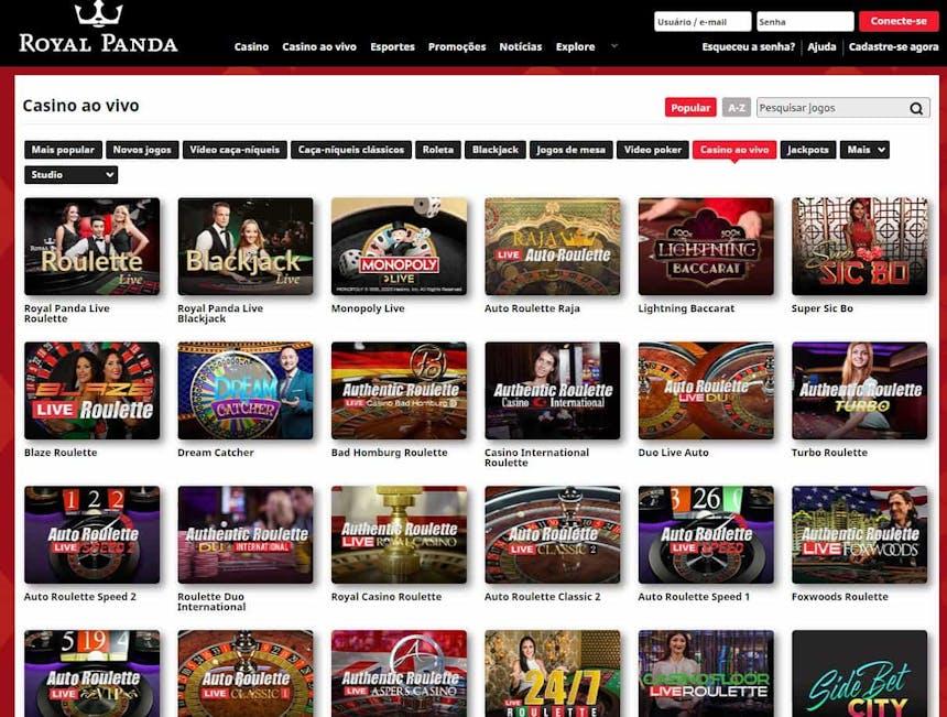 Aproveite os jogos de casino ao vivo com crupiês reais da Royalpanda