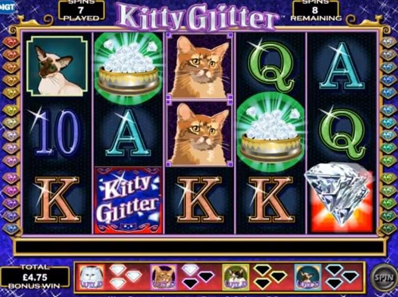 rodadas bónus e giros grátis en Kitty Glitter