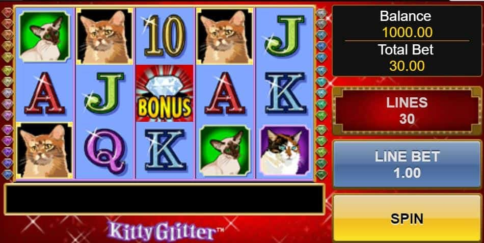 Símbolos, gráficos, sons e animações de Kitty Glitter