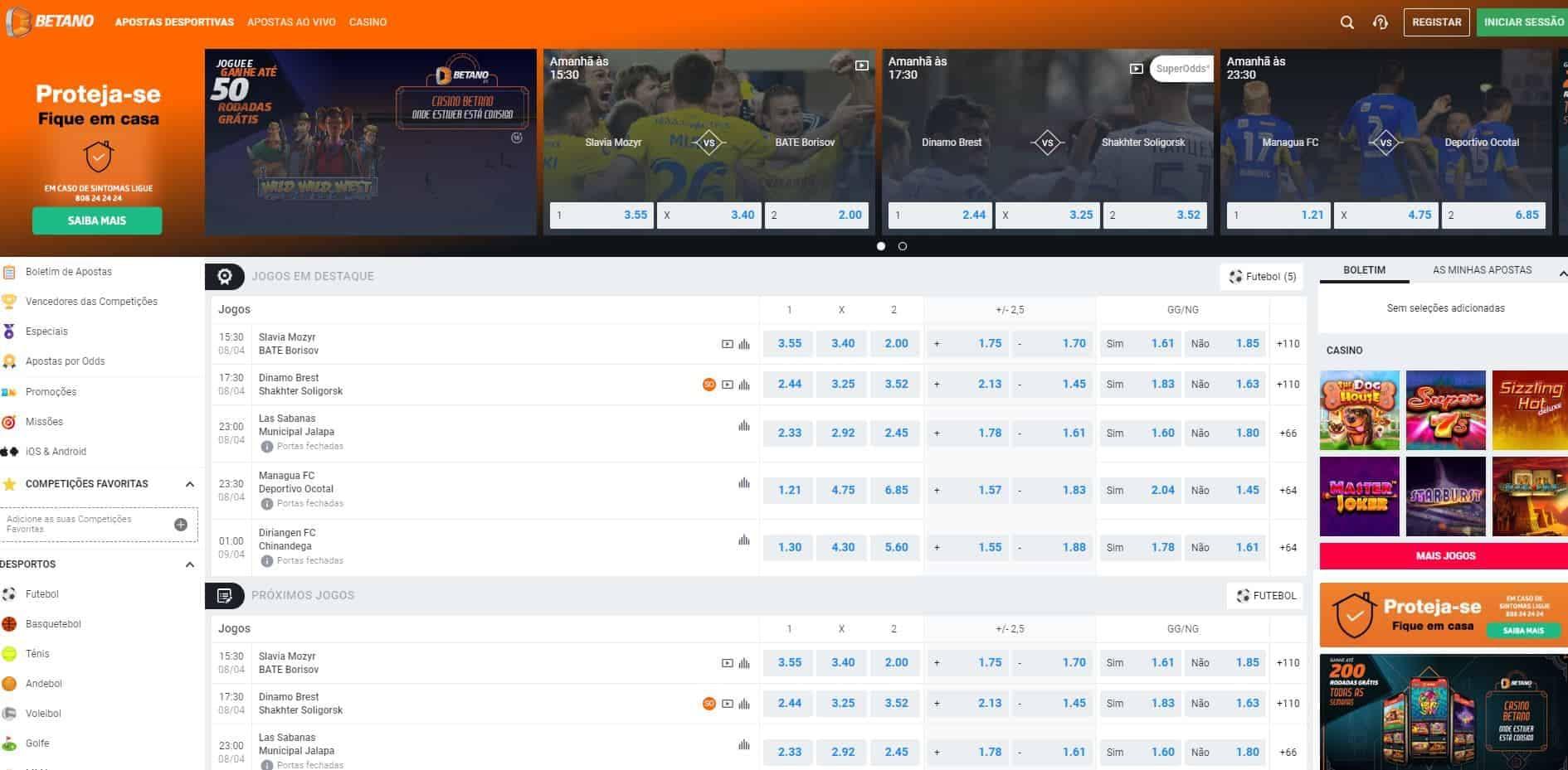 Gama de apostas desportivas disponíveis no Betano