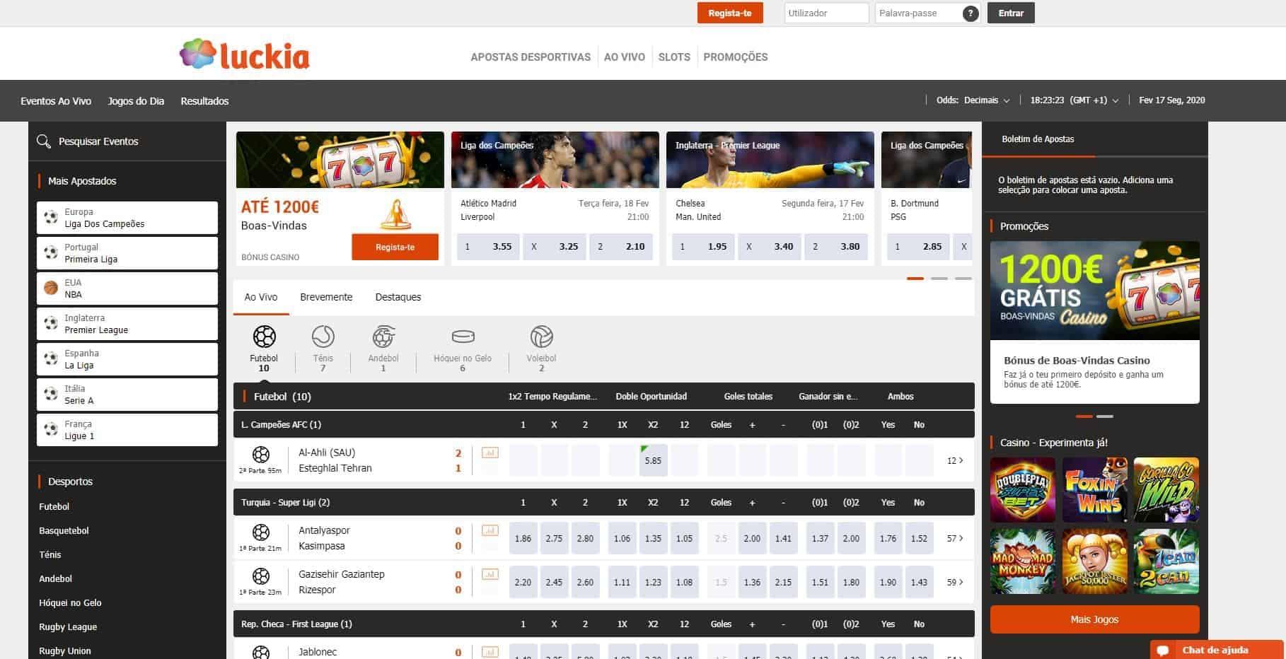 Gama de apostas desportivas disponíveis no Luckia