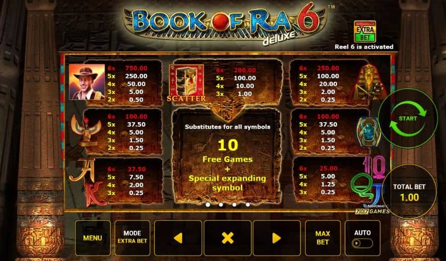 tabela de pagamento de Book of Ra Deluxe 6