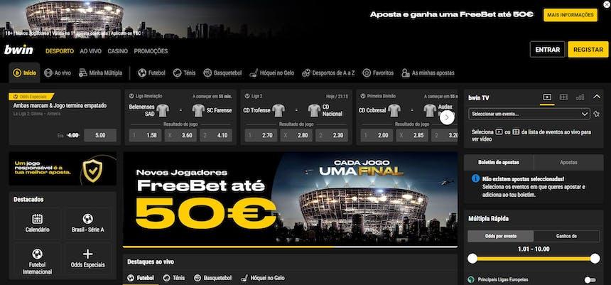 Gama de apostas desportivas disponíveis no Bwin